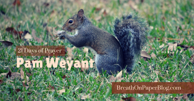 Pam Weyant on 21 Days of Discipline through 21 Days of Prayer - Breath on Paper Blog - Photo of Squirrel by Sheree Martin
